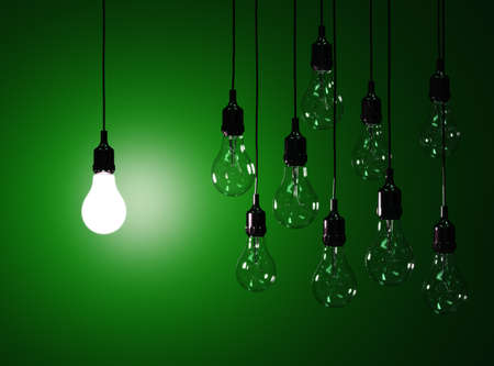 idea light bulb: 3d render of hanging light bulbs with glowing one isolated on dark green background