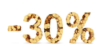 cut off: 3d rendering of 30 percent price cut off. Golden discount coins letters isolated on white background