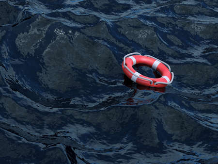 cruise ship: 3d rendering of lifebuoy in the ocean. Save life concept