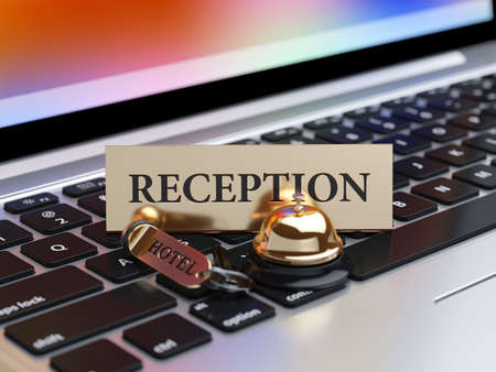 room access: 3d rendering of reception bell and room access key on the laptop keyboard with soft focus. Booking concept
