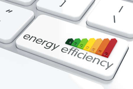 3d render of energy efficiency rating on computer keyboard Archivio Fotografico