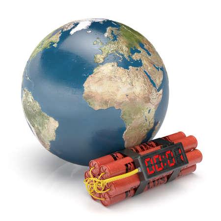 conflicto: Planeta Tierra con bomba de tiempo dinamita aislado en fondo blanco. Peligroso concepto Mundial conflicto militar. Los elementos de esta imagen proporcionada por la NASA Foto de archivo