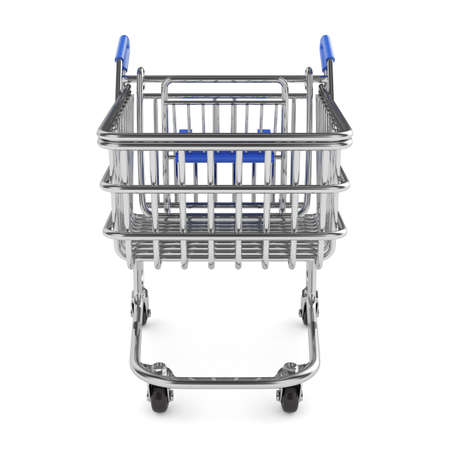 grocery shopping cart: 3d render of shopping cart isolated on white background