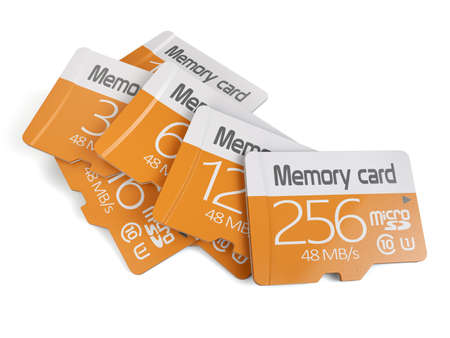 micro: 3d rendering of memory micro sd card heap. Isolated on white background