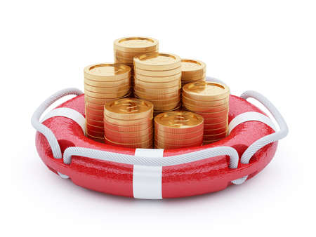 financial emergency: 3d render stack of coins with lifebuoy isolated on white background