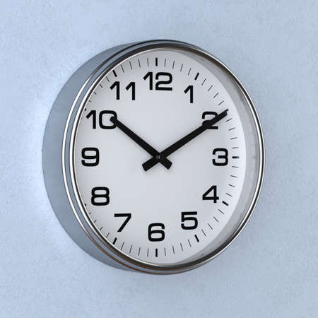3d rendering of time concept with watch or clock on the wall