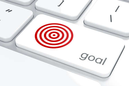 target: Strategic business concept, red target on laptop computer keyboard background Stock Photo
