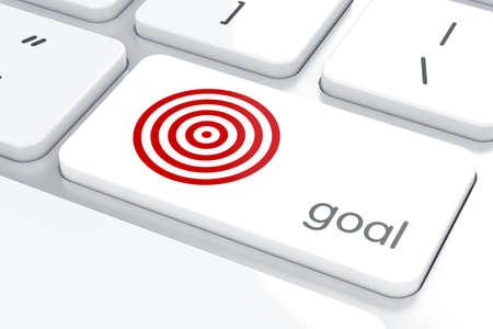 klawiatury: Strategiczna koncepcja biznesowa, czerwony docelowych na klawiaturze komputera przenośnego tle Zdjęcie Seryjne