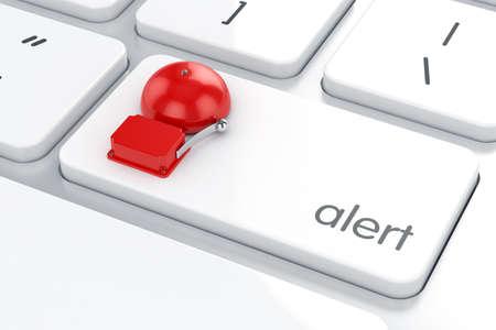 alerta: 3d de alarma retro rojo en el teclado del ordenador. Peligro concepto de alerta