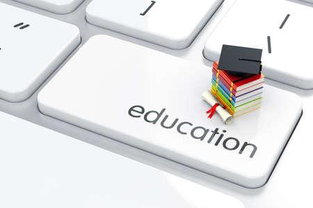 教育: キーボードの書籍アイコン卒業キャップの 3 d のレンダリング。教育コンセプト