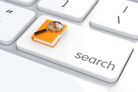 3d rendem da pasta com a lupa no teclado do computador. conceito da busca