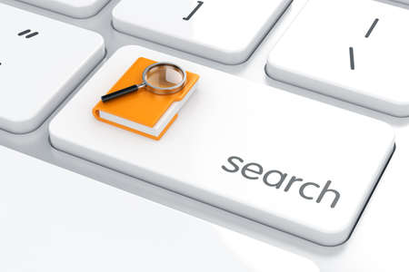 enter: 3d render of folder with magnifying glass on the computer keyboard. Search concept Stock Photo