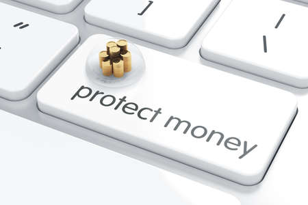 protect money: 3d render of golden coins covered by glass bell on the computer keyboard. Protect money concept