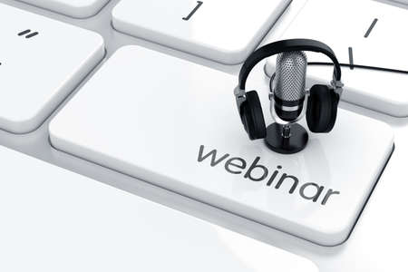 3d render of microphone with headphones on the keyboard. Webinar concept Archivio Fotografico