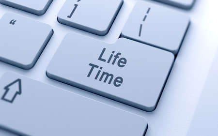 computer button: Life time word button on computer keyboard with soft focus