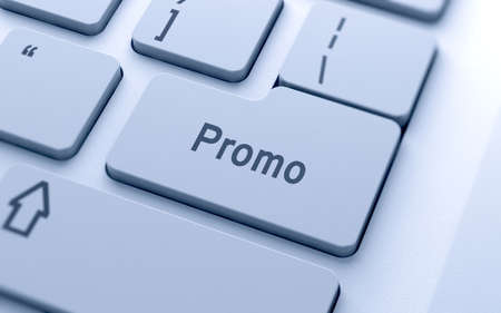 computer button: Promo word button on computer keyboard with soft focus