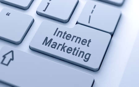 computer button: Internet marketing word button on computer keyboard with soft focus Stock Photo