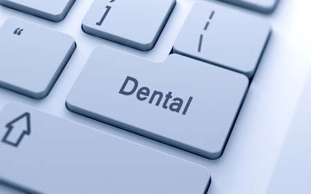 computer button: Dental word button on computer keyboard with soft focus