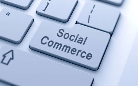 social commerce: Social commerce word button on computer keyboard with soft focus Stock Photo