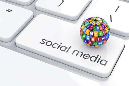 interaccion social: Software, el concepto de medios de comunicación social. Colorido botones de icono esfera sobre el teclado del ordenador