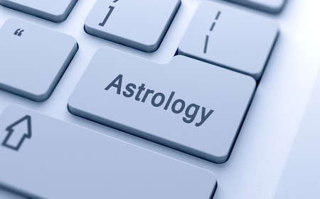computer button: Astrology word button on computer keyboard with soft focus
