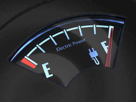 fuel gauge: Electric fuel gauge with the needle indicating a full battery charge. Eco fuel concept