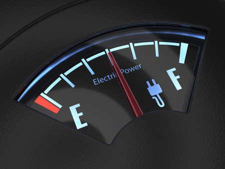 Elektrische brandstofmeter met de naald die een midden batterij lading aangeeft. Eco brandstofconcept Stockfoto