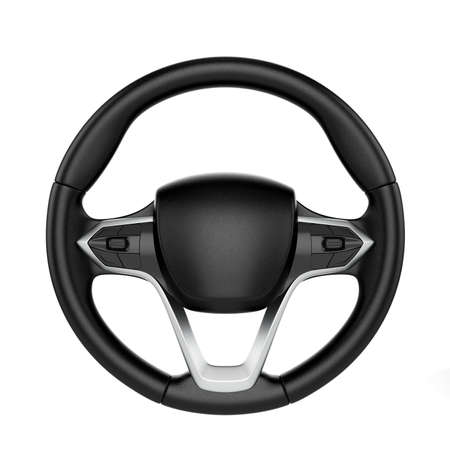 3d render of steering wheel isolated on white background