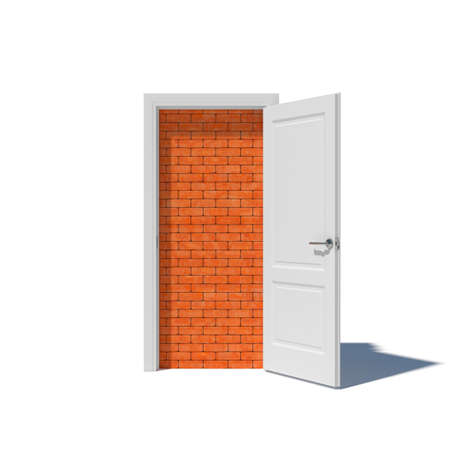 doorway: White door with brick wall and shadow isolated on white background. Walled up