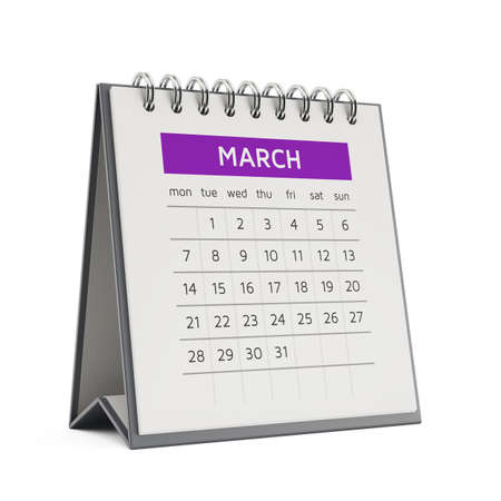 desktop calendar: 3d march desktop calendar with soft shadow isolated on white background Stock Photo