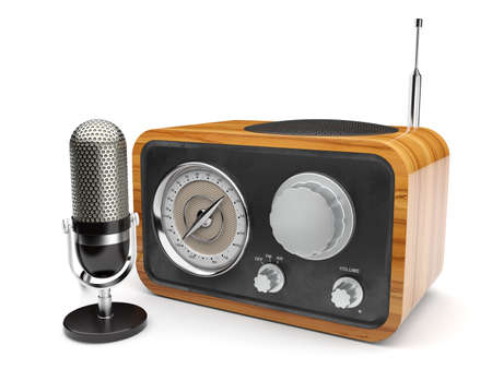 shortwave: 3d illustration of wooden retro radio with microphone. Isolated on white background