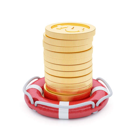 life support: 3d render stack of coins with lifebuoy isolated on white background