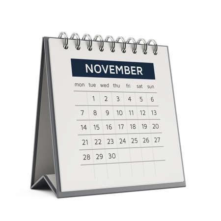desktop calendar: 3d november desktop calendar with soft shadow isolated on white background