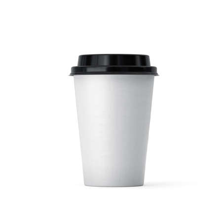 3d rendering of coffee in white paper takeaway cup isolated on white background