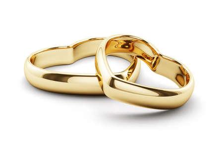 3d framför hjärtformade guldringar isolerad på vit bakgrund Stockfoto