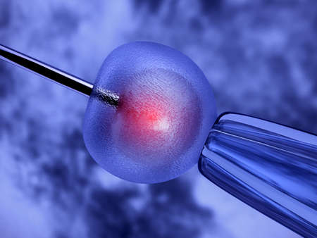 sperm cell: 3d rendering of metal needle fertilizing a female egg. Artificial insemination
