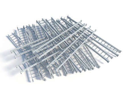 backstairs: 3d rendering of lying white metal ladder heap, isolated on white background