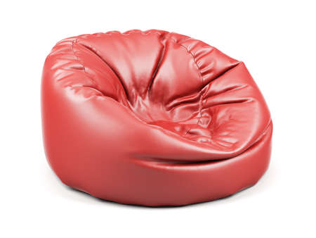 3d renderion of red soft leather beanbag isolated on white background