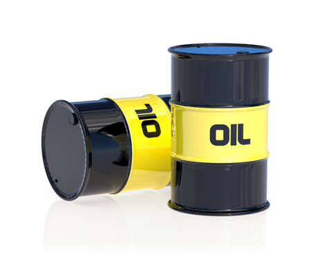 barell: 3d render of black oil barrels isolated on white background