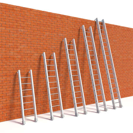escape: 3d rendering of ladders on bricks wall, escape concept
