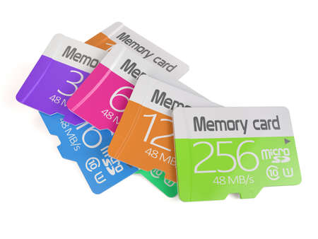 3d rendering of colorful memory micro sd card heap. Isolated on white background