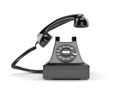 pick up: 3d illustration of black old-fashioned old rotary phone isolated on white background
