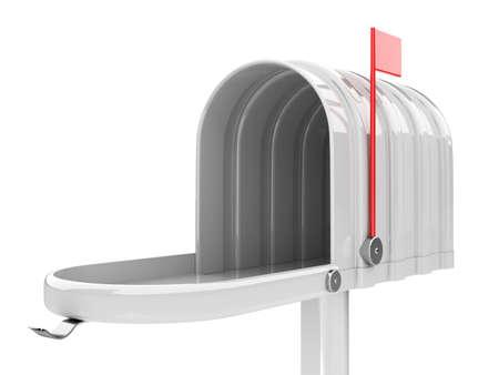 await: 3d illustration of opened empty white mailbox isolated on white background