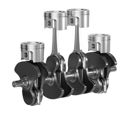 engine pistons: 3d rendering of sport car motor engine pistons with crankshaft Stock Photo