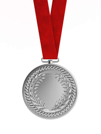 silver medal: Blank silver medal with ribbon for second place championship