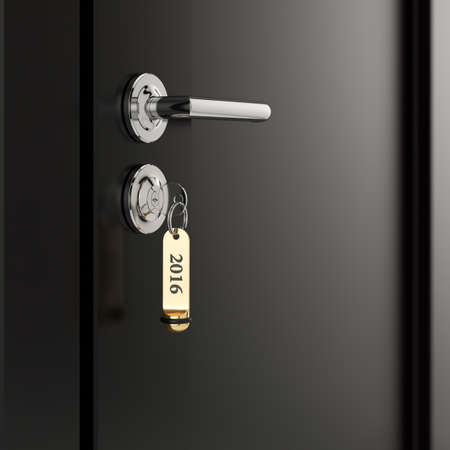 hotel room: Brown hotel room door with key in the lock with golden lable number 2016 new year concept