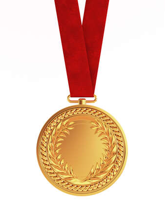 medal: Blank golden medal with ribbon for first place championship isolated on white background