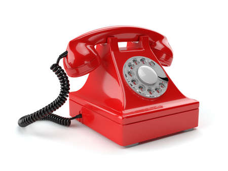 old fashioned rotary phone: 3d illustration of red old-fashioned phone isolated on white background