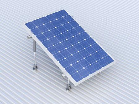 energia renovable: representación 3D de ilustración conceptual de paneles solares