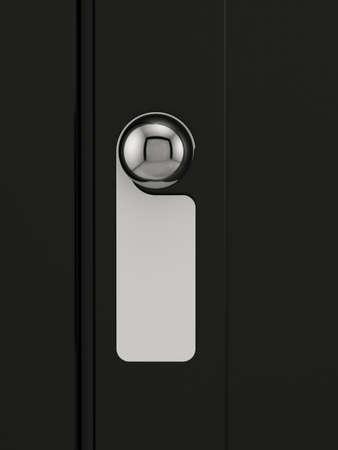 manejar: 3d de la etiqueta vacía en una manija de la puerta para el texto